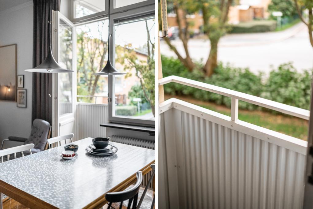 Ljus hörntrea i gamla Råsunda med fungerande öppen spis och fransk balkong